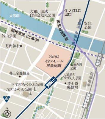 (仮称)イオンモール堺鉄砲町・周辺地図