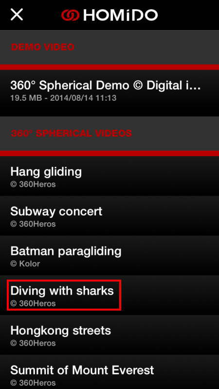Diving with sharksを選択